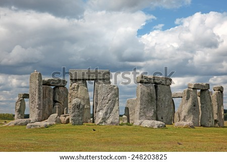 The Stonehenge historic site. Stonehenge is a UNESCO world heritage site in England with origins estimated at 3,000BC - stock photo