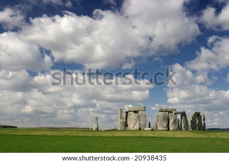 The Stonehenge with cloudy blue sky - stock photo