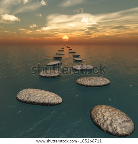 The stones in the water. The sunset. Square format images - stock photo