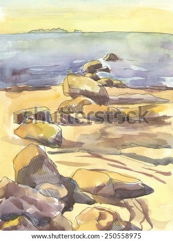 The stones on the beach. The paintings. Watercolor - stock photo