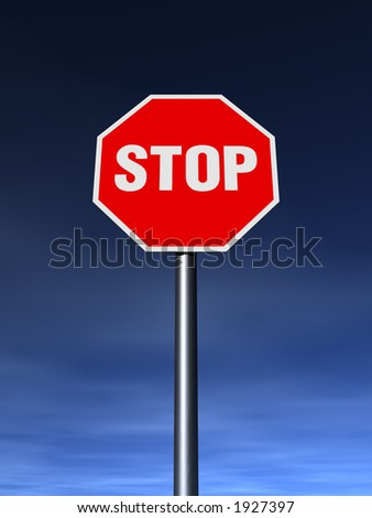 The STOP sign on the clean sunny day.  XXL 4500 x 6000 pix - stock photo