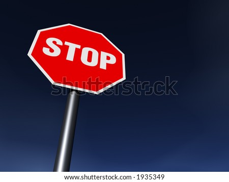 The STOP sign on the clean sunny day. XXL 6000 x 4500 pix - stock photo