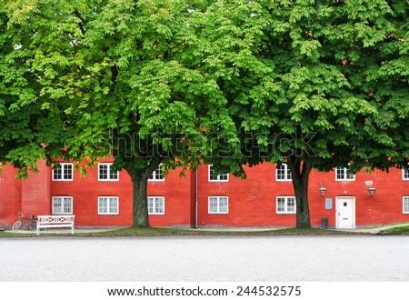 """The storehouse in Kastellet, Copenhagen, Denmark. Kastellet (""""The Citadel Frederik's harbor"""") is the famouse star fortresses in Copenhagen. - stock photo"""