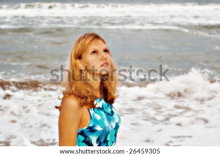The storm and sunny woman - stock photo