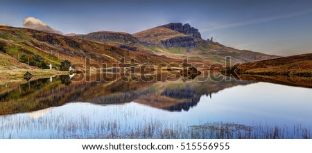 The Storr reflection in Loch Leathan, Isle of Skye, Highland, Scotland. Quiet october morning.