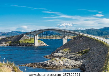 The Storseisundet Bridge on the Atlantic Ocean Road in Norway - stock photo