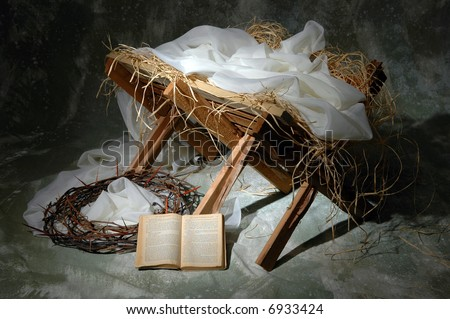 The story of Christmas with open Bible to John 3:16 - stock photo