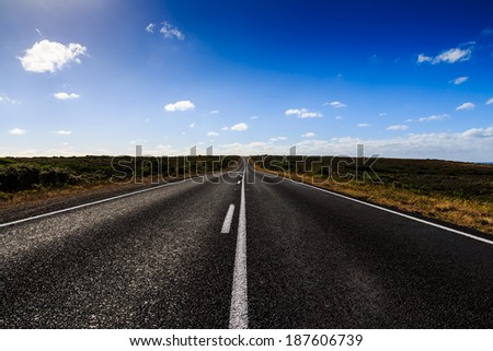 The straight road on the great ocean road in Victoria Australia