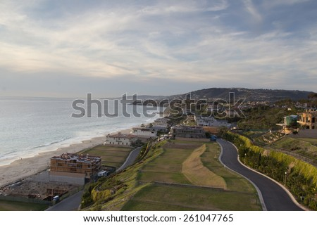 The Strand Beach in Dana Point, Southern California at sunset / dusk on March 15, 2015 - stock photo