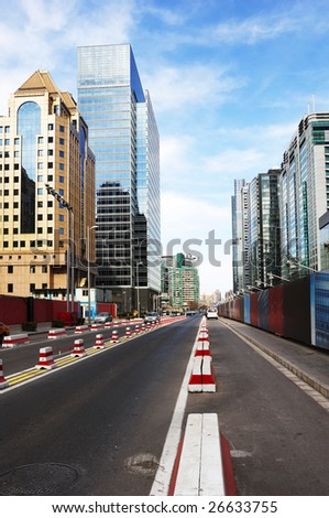 the street and building in beijing, china - stock photo