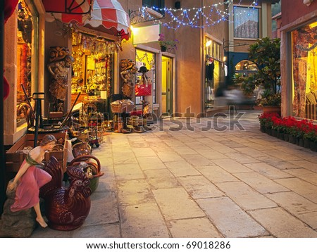 The Street in City Market in the evening - stock photo