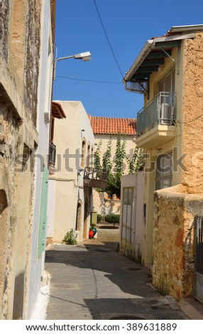 The street in the old part of Malia, Crete, Greece.