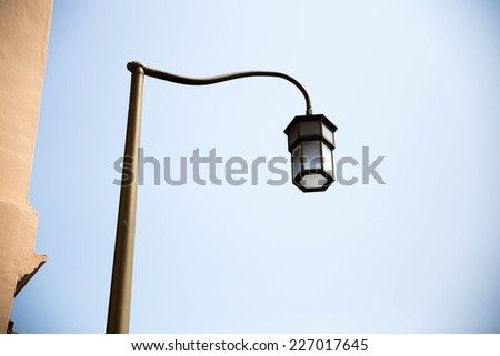 The street lamps on poles one. - stock photo