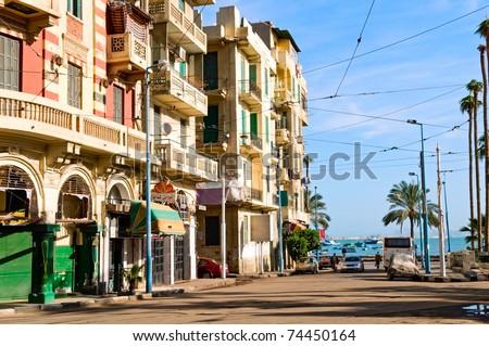 the street of Alexandria, Egypt  - stock photo
