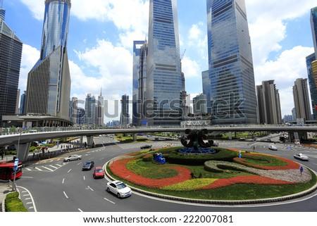 The street scene of the century avenue in shanghai,China.  - stock photo