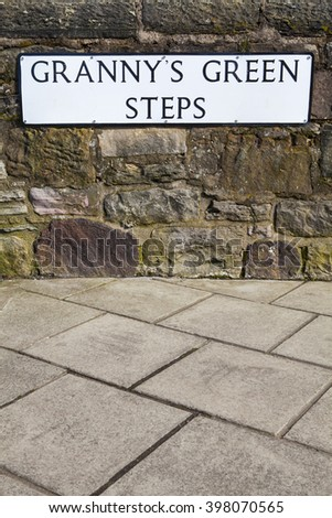 The street sign for Grannys Green Steps in the historic city of Edinburgh, Scotland. - stock photo