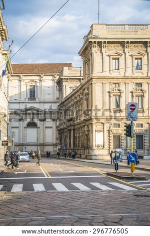 The street with ancient buildings in the center of Milan, Italy. 20.04.2015 - stock photo