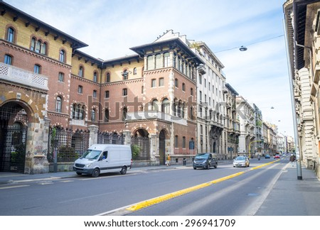 The street with ancient buildings in the center of Milan, Italy 20.04.2105 - stock photo