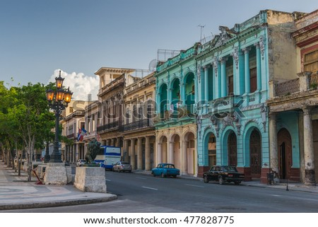 The streets and architecture of Old Havana in Cuba.