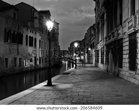 The streets of Venice Long exposure By Night. Blurred motion on curtain due to wind.