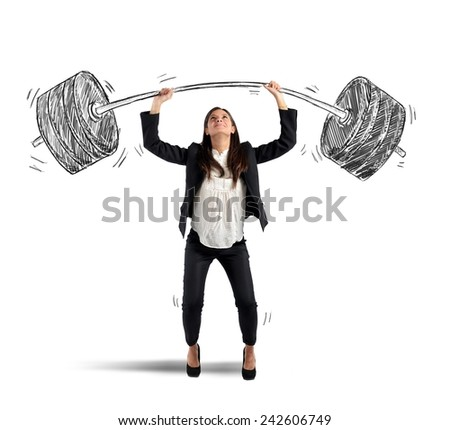 The strength of a businesswoman at work - stock photo