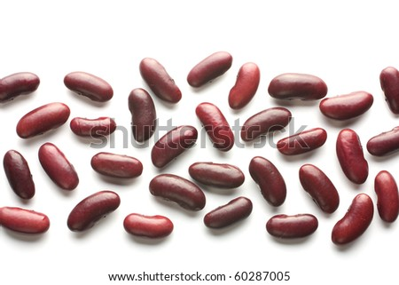 The strip of red beans isolated on a white background.