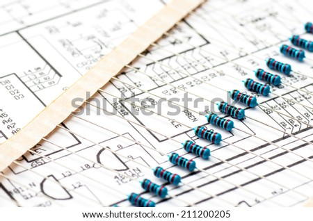 The strip of resistors placed on the drawing with the electric scheme
