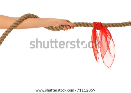 The strong-willed woman plays of pulling of a rope and wins