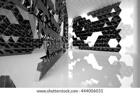 The structure of the white and black triangle prism. Architectural background of the future. 3D illustration. 3D rendering