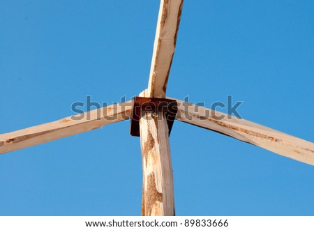 The Structure of wood roof on blue sky background
