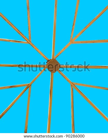 The Structure of wood roof on blue sky background - stock photo