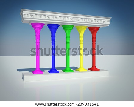 The structure with columns of different colors - stock photo