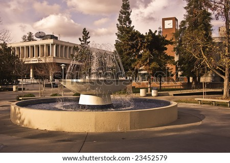 The Student Union and bookstore at California State University, Fresno, the heart of the campus. - stock photo