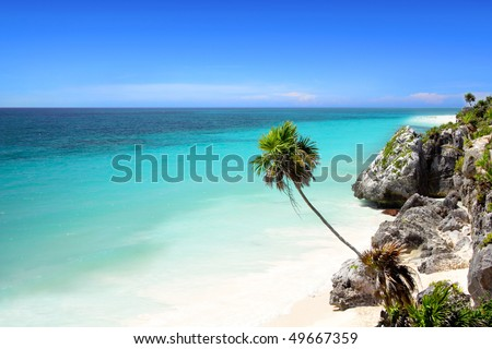 The stunning beach at Tulum, near Cancun, Mayan Riviera, Mexico