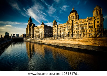 The Stunning Skyline - the Three Graces of Liverpool - stock photo