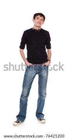 The stylish guy costs on a white background