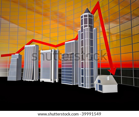 The stylized business histogram of financial crisis - stock photo