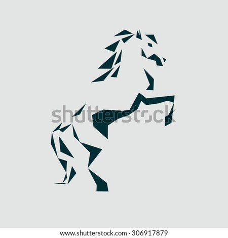 the stylized icon of a horse standing on its hind legs. emblem. abstract angular image of the horse's hind legs. - stock photo