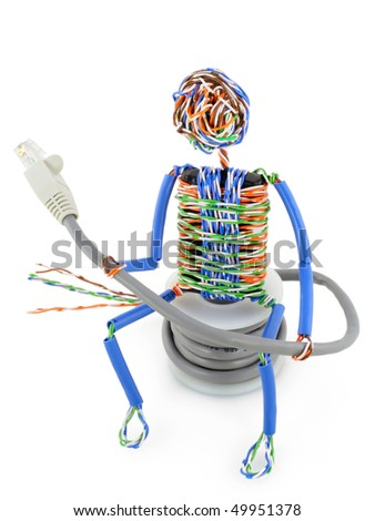 The stylized little man made of a computer cable sits on spool UTP and looks on connector. Isolated on white. - stock photo