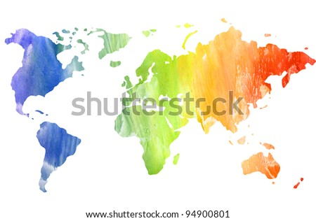 The stylized map of the world. - stock photo