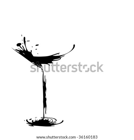 The stylized wine glass for fault - stock photo