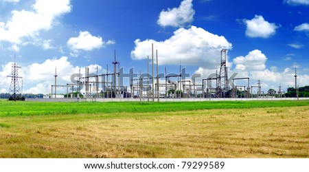 The Substation and  Power Transmission Lines. Panorama - stock photo