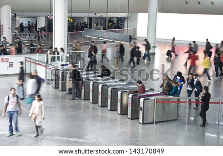 The subway exit in shang hai, china  - stock photo