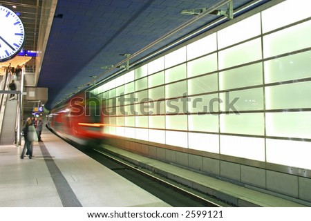 The subway making its entrance in the Potsdamer Platz, Berlin - stock photo