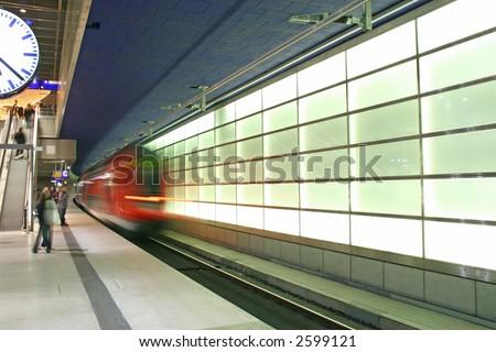 The subway making its entrance in the Potsdamer Platz, Berlin - stock photo
