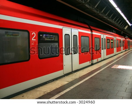 The subway train in Munich, Germany.