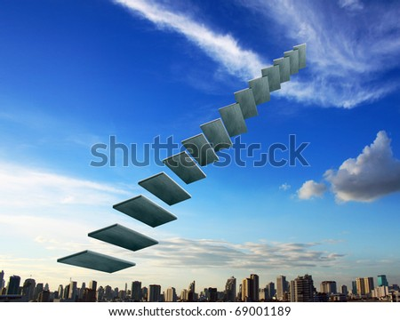 The success ladder in the sky - stock photo