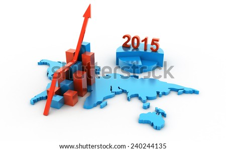 The successful business graph in the business in 2015  - stock photo