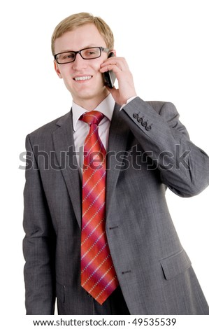 The successful businessman speaks by phone