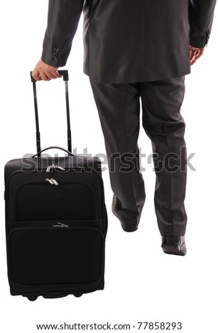 The suitcase carried by businessman - stock photo
